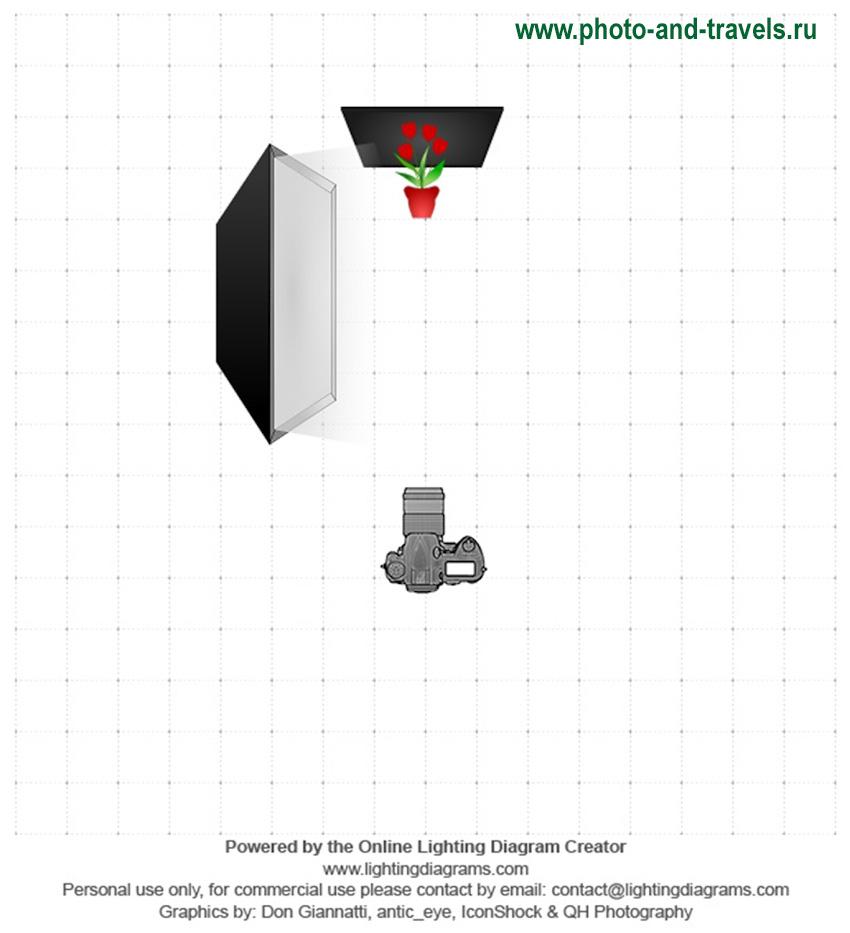 Рисунок 7. Схема постановки света для съемки овощей на черном фоне с софтбоксом.