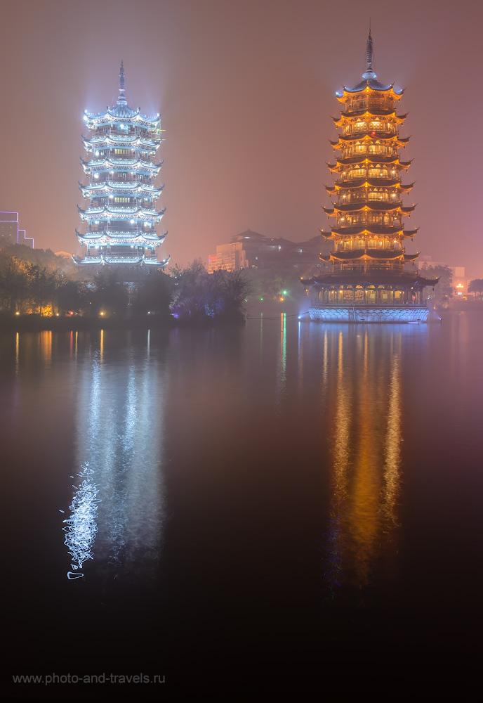 15. Пагоды Солнца и Луны (the Sun and Moon Twin Pagodas) - достопримечательности города Гуйлинь. 15, 13, 100, 24.