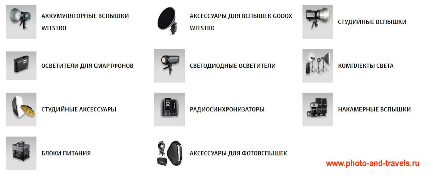 13 . Модельный ряд вспышек и других товаров Godox.