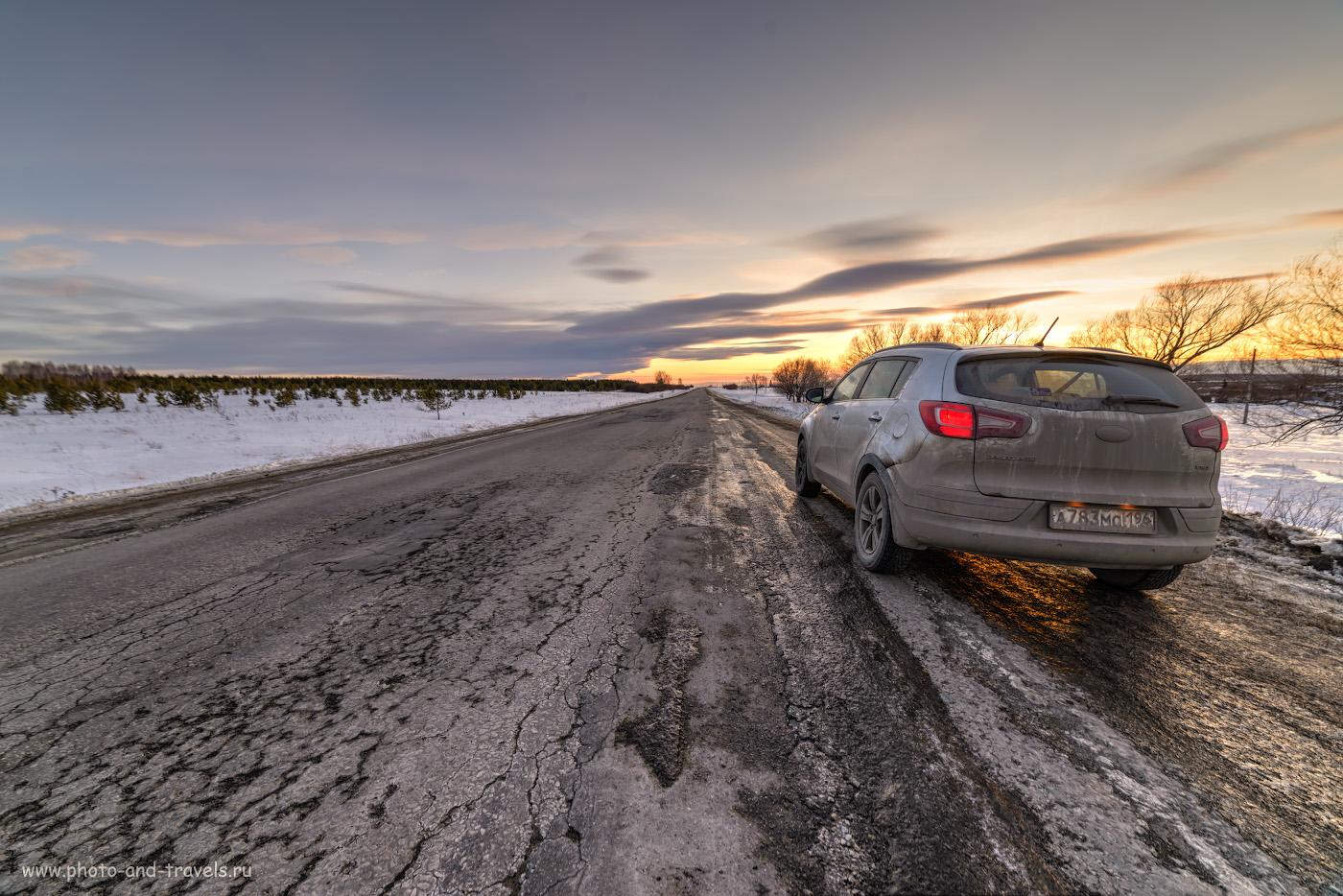 Фото 39. Вечерний этюд с немытой машиной. Облака над Снежинском, где расположен комбинат «Маяк». HDR из 3-х кадров, снятых на Samyang 14mm f/2.8 со штатива.