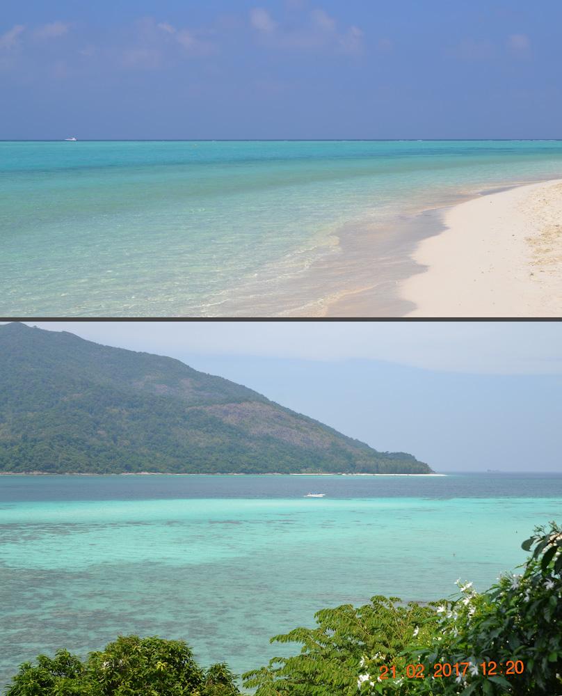 Фото 31. Сравнение моря на Мальдивах и в Таиланде. Сверху – пляж на острове Тодду, снизу – тайский Ко Липе.
