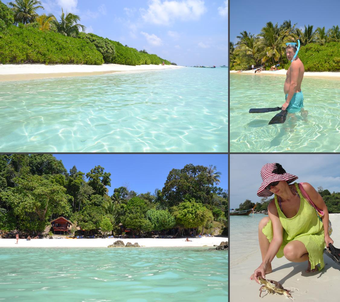 Фото 32. Сравниваем отдых на Мальдивах и на островах Таиланда. Справа вверху – Тодду, остальные кадры – Ко Липе.