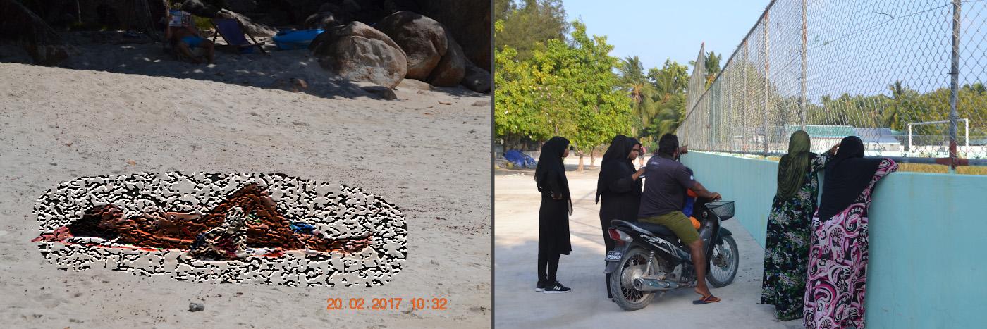 """Фото 33. Где лучше отдыхать: на Ко Липе или на Тодду? Слева – на пляже в Таиланде, справа – на Мальдивах. Примечание от Лахардова С.П.: роботу """"Гугла"""" не понравилась девушка слева - пришлось ее заретушировать."""