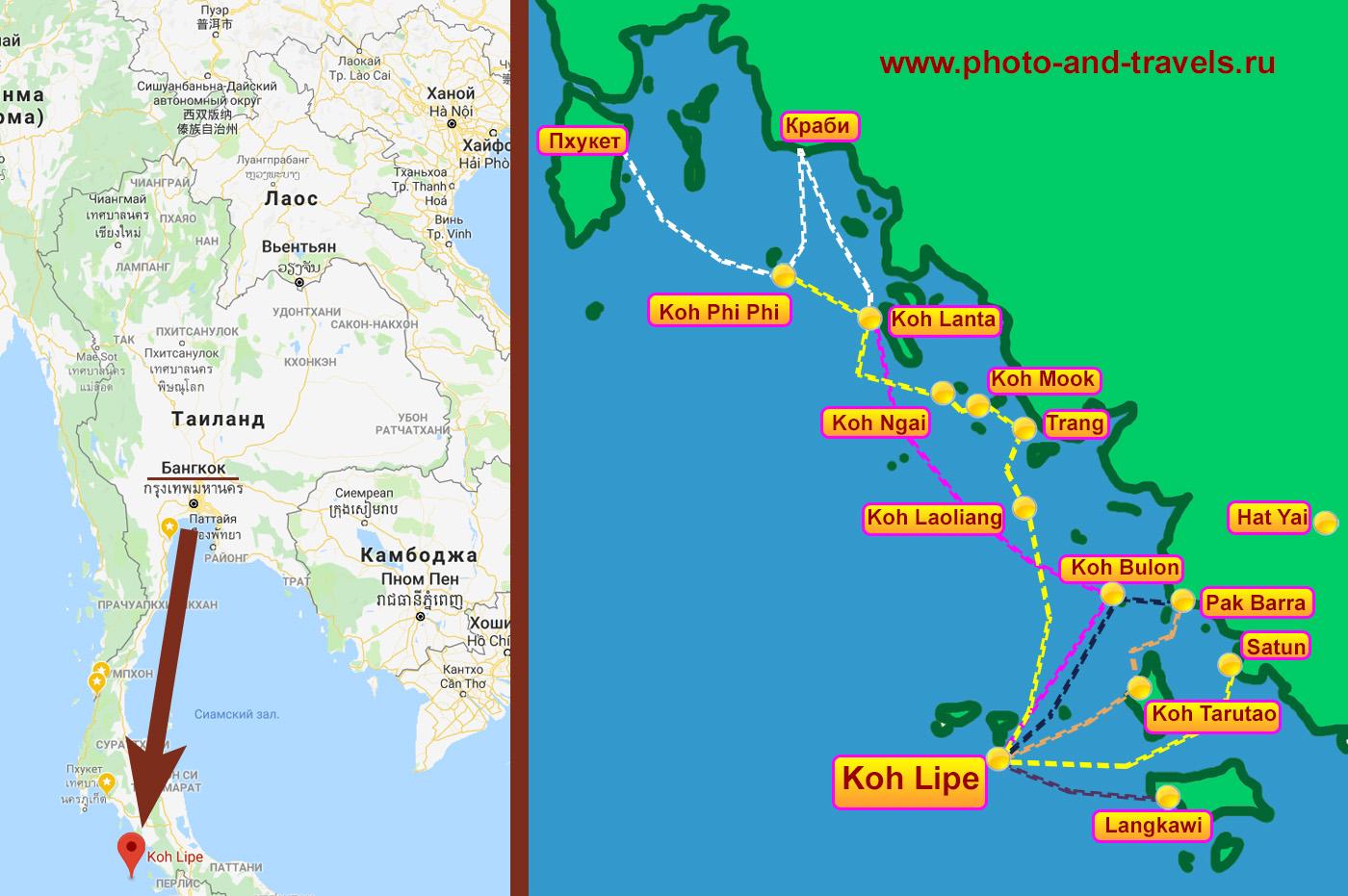 Карта со схемой маршрутов морского транспорта до Ко Липе. Примерное расстояние от верхней до нижней границы карты на местности – 250 км.