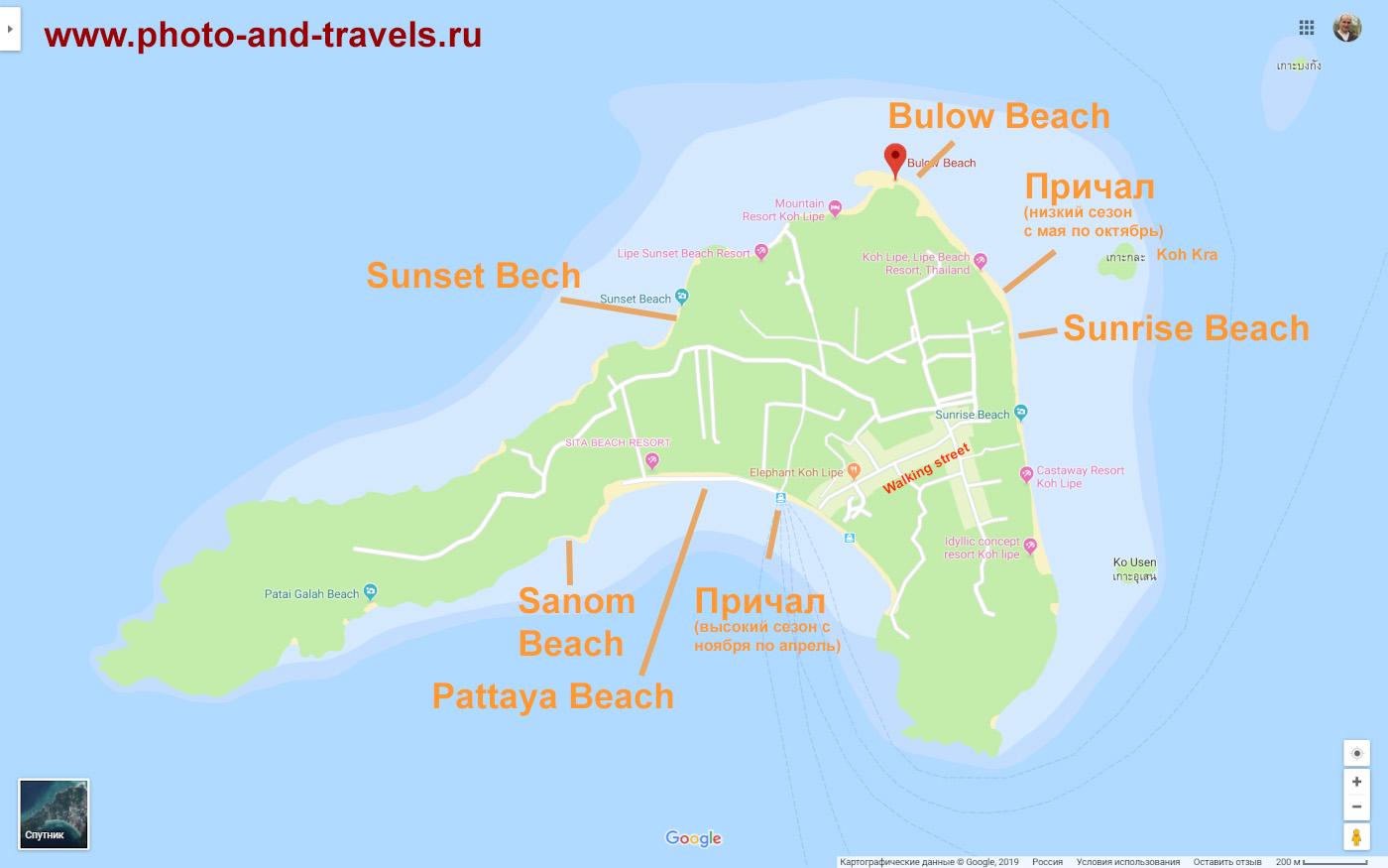 Карта со схемой расположения пляжей и пирса на острове Ко Липе в Таиланде.