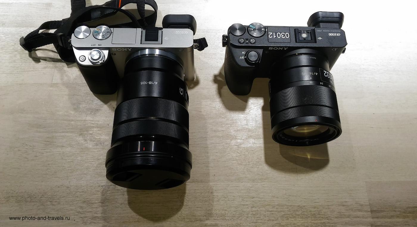 Фото 34. Сравнение размеров тревел-зума Sony 18-105mm f/4 и Sony 16-70mm f/4. Слева - тушка Sony A6000, справа - Sony A6500.