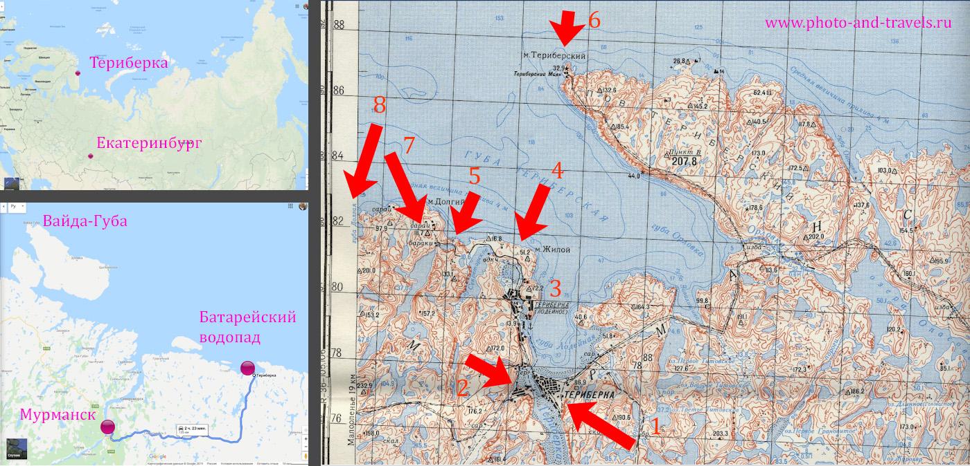 3. География Териберки. Где находится на Кольском полуострове и карта расположения достопримечательностей вокруг села.