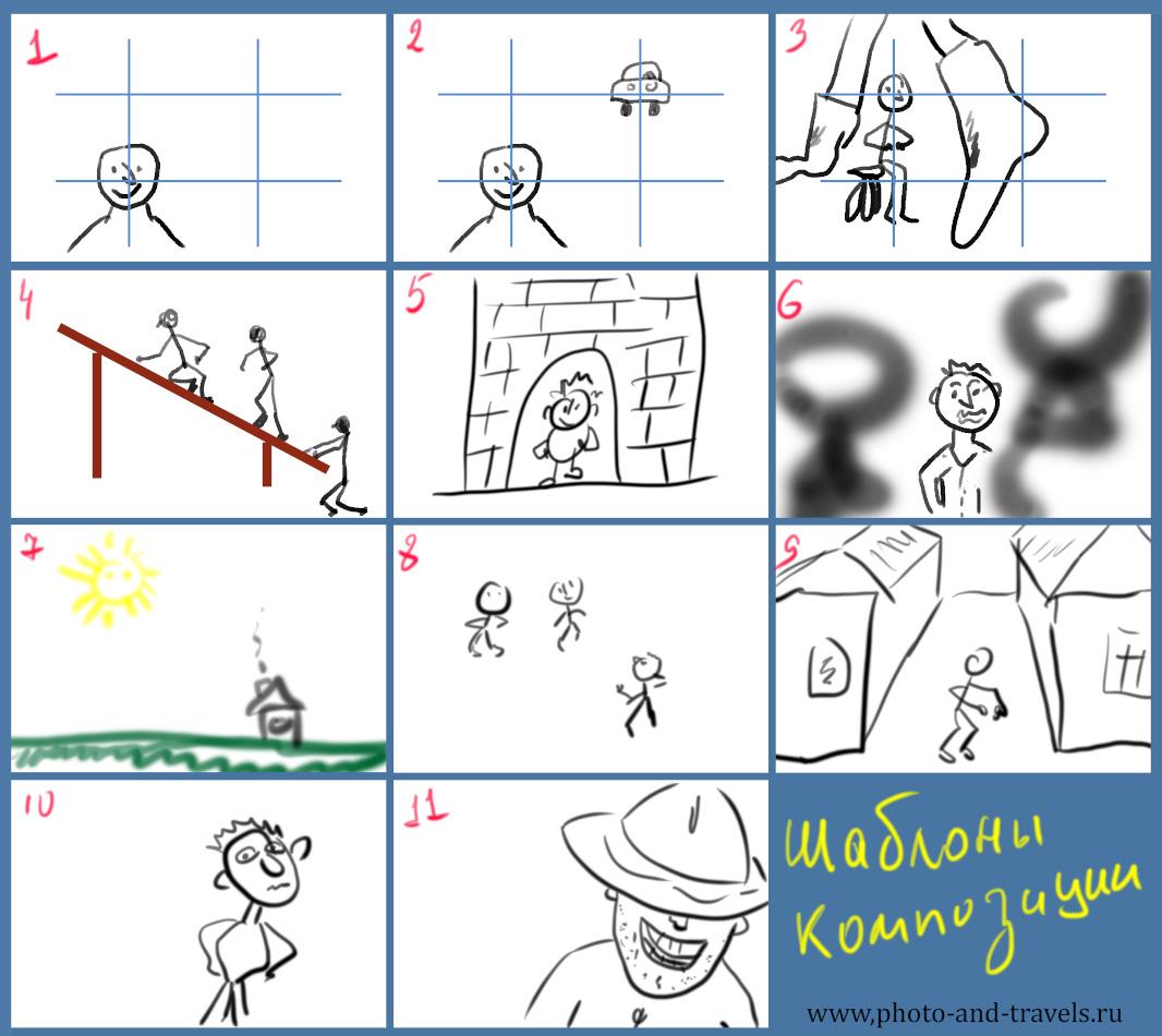 Рисунок 5. Схемы шаблонов композиции, которые позволят улучшить фотографии из отпуска.