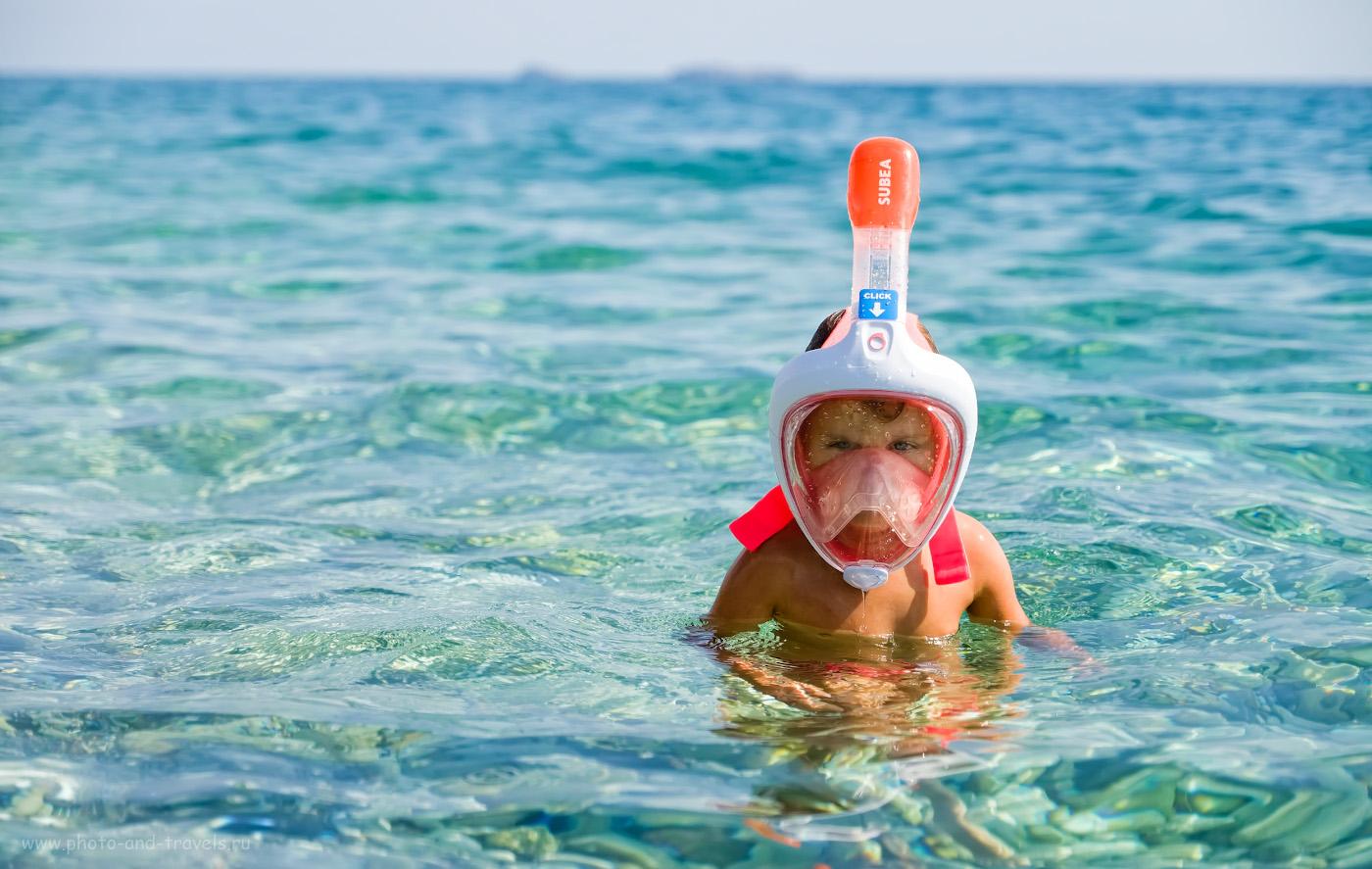 Фото 36. Маска «EASYBREATH» для снорклинга. Маленькие дети могут дышать одновременно и носом, и ртом. Рекомендации, что взять для отдыха на море. 1/2700, 2.8, 200, +0.67, 55.
