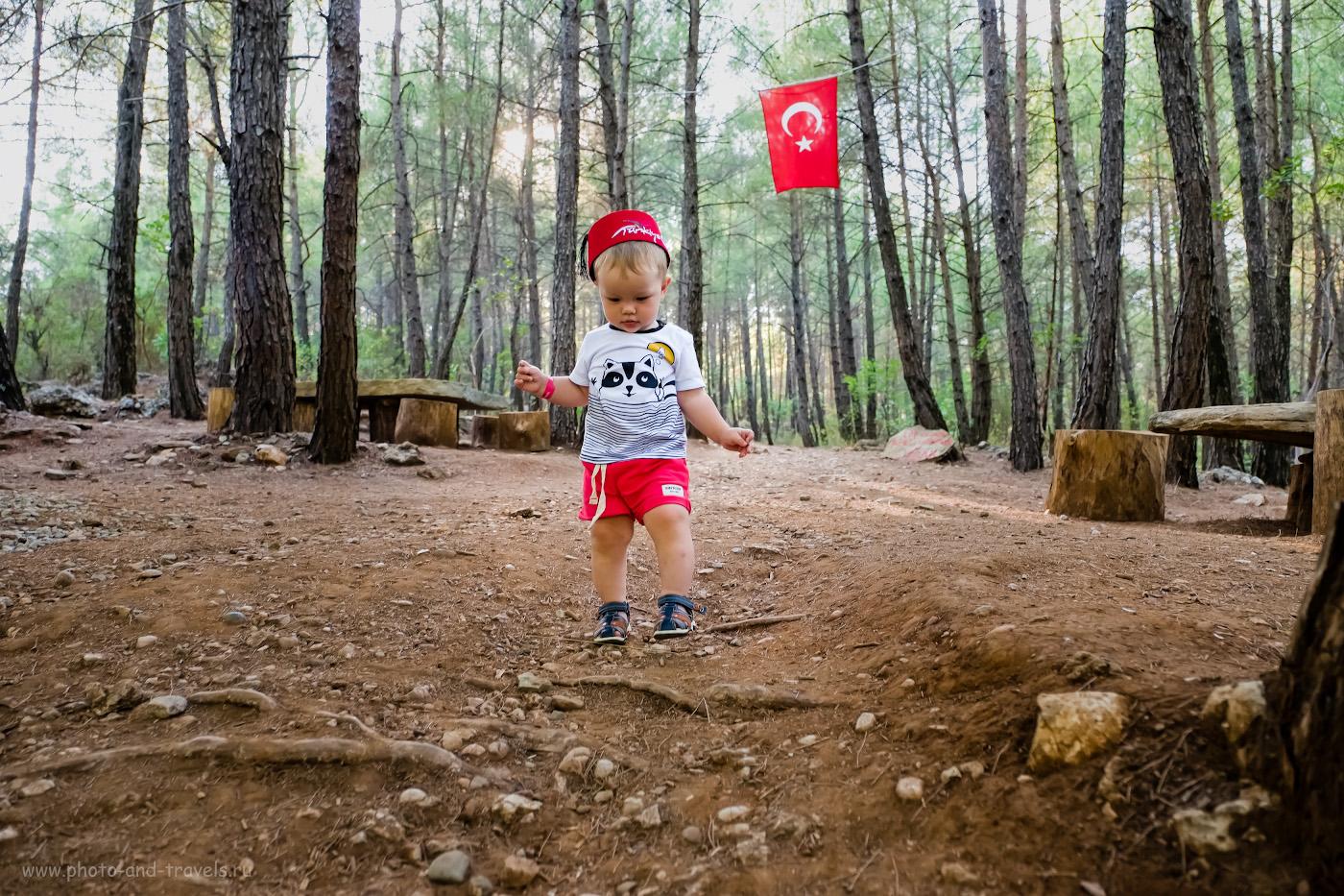Фотография 1. Отдых в Турции с маленьким ребенком. Отзывы туристов и советы родителям. Фотография снята в пешем походе на смотровую площадку каньона Тазы (Tazı Kanyonu) в окрестностях курорта Белек (Belek). Настройки: выдержка 1/250 секунды, f/2.8, ISO 1000, ФР=16 мм.