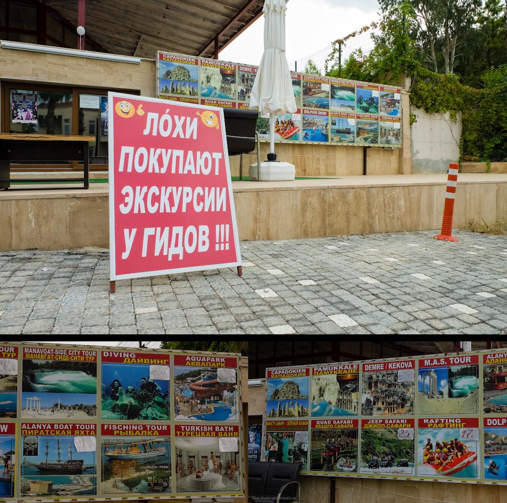 24. Отдыхая в Турции, только лохи покупают экскурсию у отельного гида, нормальные люди ездят с уличными агентствами.