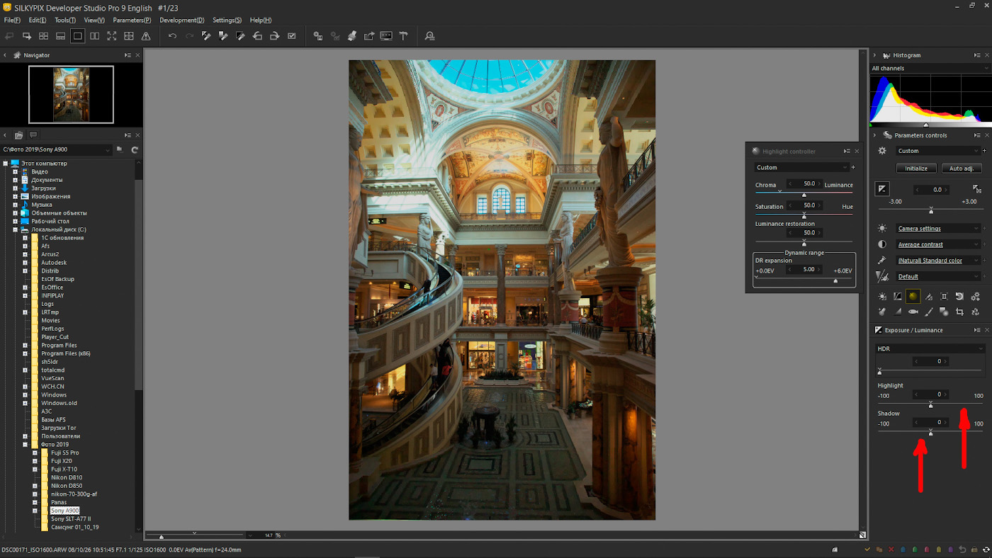 44. Скриншот обработки RAW-файла в редакторе «SILKYPIX Developer Studio Pro 9».