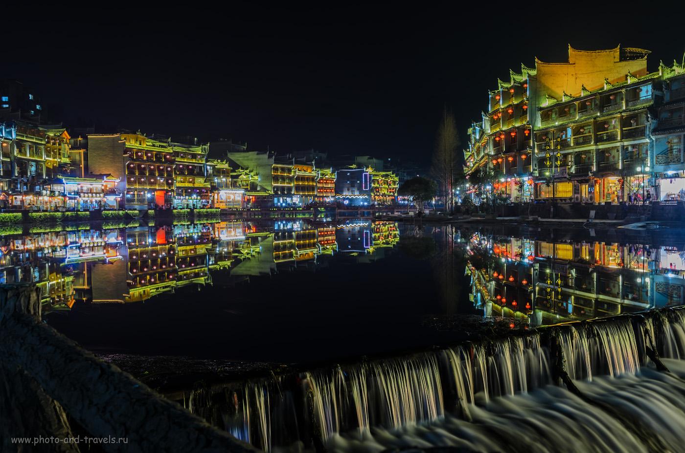 Фото 12. Вечерний город Фэнхуан. Таким мы увидели его, когда приехали из Чжанцзяцзе. Отчет о самостоятельном экскурсионном туре в Китай. 15, 10.0, 100, 24.