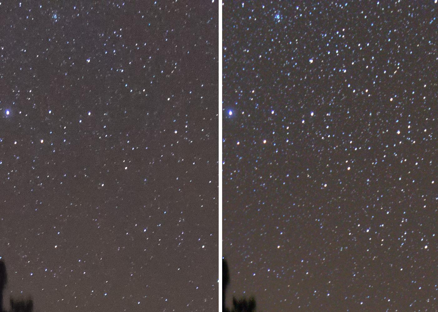 Фотография 13. Сравнение воздействия шумодава на звезды в масштабе 100%, слева – оригинальный кадр после плагина Dfine 2 из набора Nik Collection, справа - 10 кадров сшиты в Sequator. Видно, что слева количество звезд намного меньше. Камера Nikon D610 с объективом Nikon 18-35mm f/3.5-4.5G. 18 mm, ISO 3200, f/3.5, 20 s