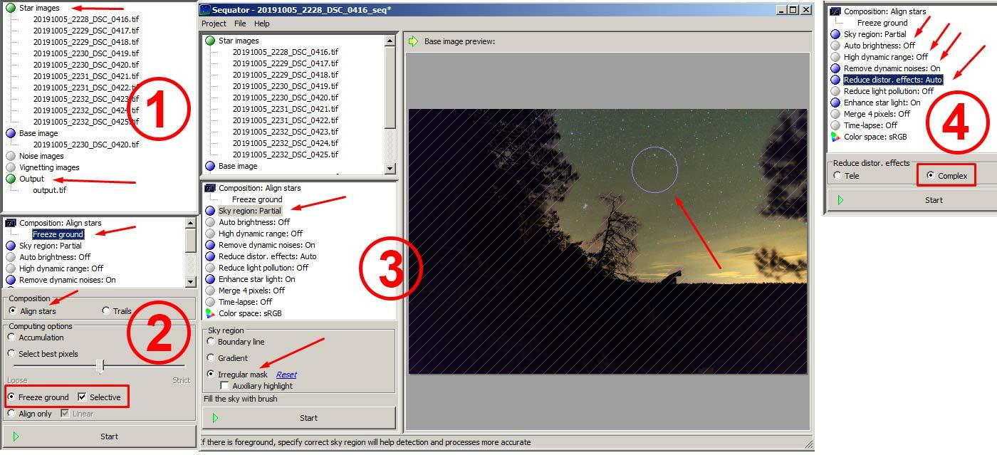 Фото 19. Интерфейс и настройки редактора «Sequator» при обработке звезд.