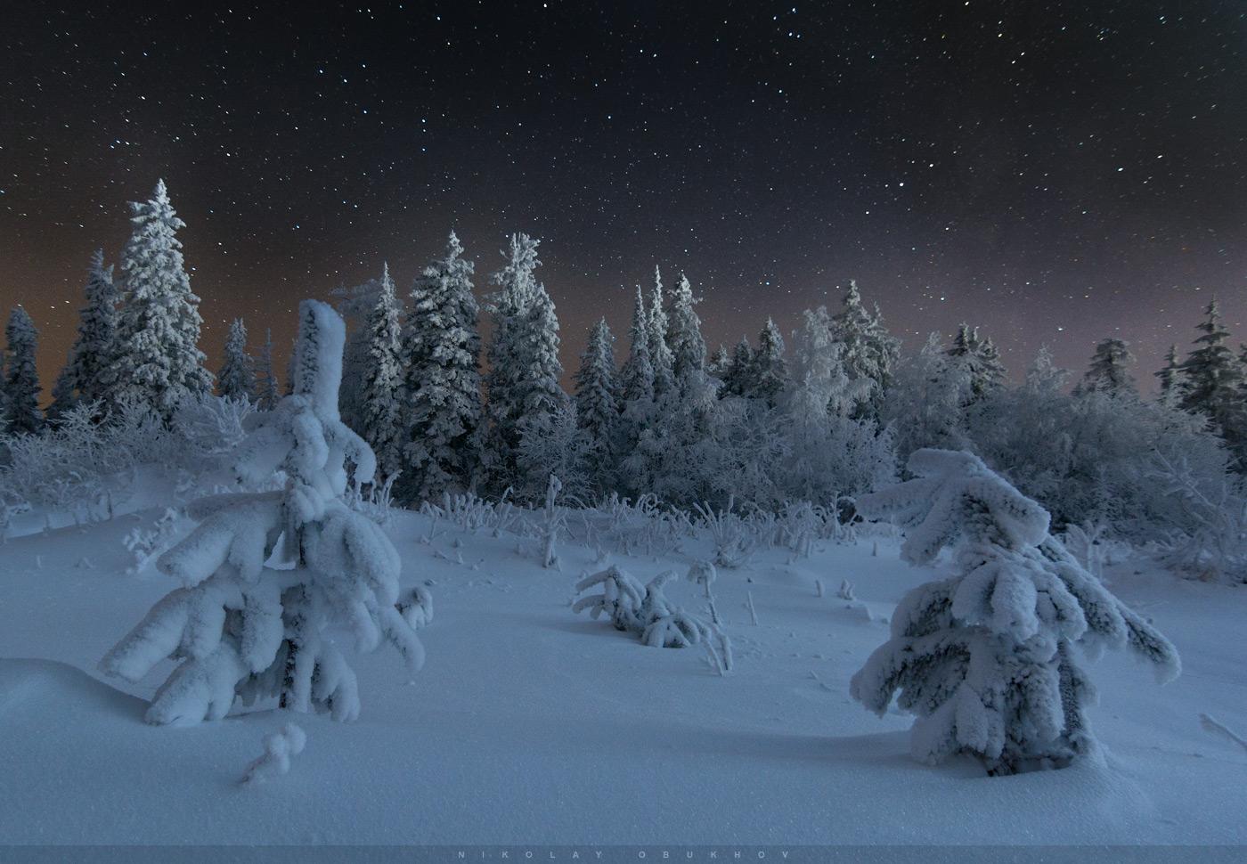 Фотография 3. Пример съемки зимнего пейзажа со звездами. Камера Nikon D7100 с объективом Tokina AT-X 116 PRO DX-II 11-16mm f/2.8. Небо: 12 mm, ISO 2500, f/2.8, 20 s, 1 кадр. Земля: 12 mm, ISO 640, f/2.8, 70 s, 1 кадр.