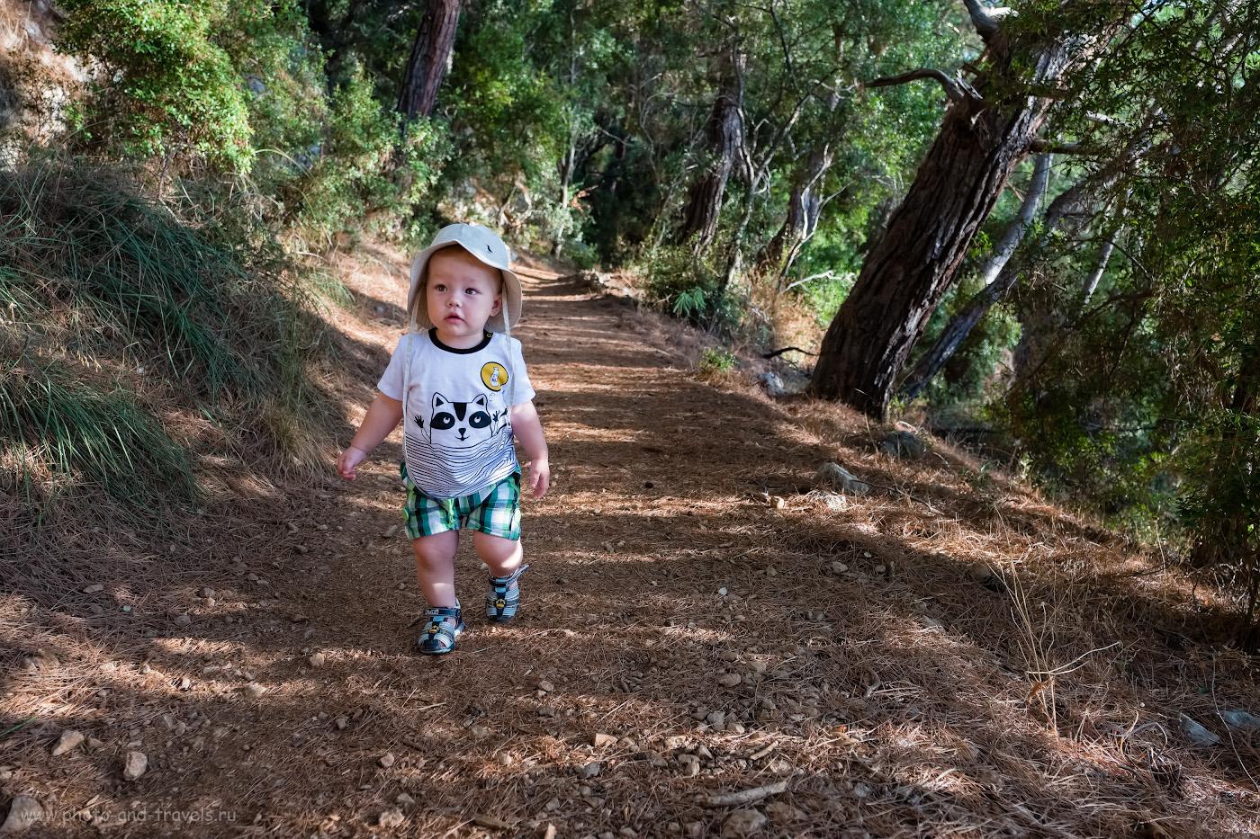 Фото 6. Маленький турист на тропе к маяку на мысе Гелидония. Отзывы о походе по Восточной Ликийской тропе с детьми. 1/200, 2.8, -0.33, 16.5.