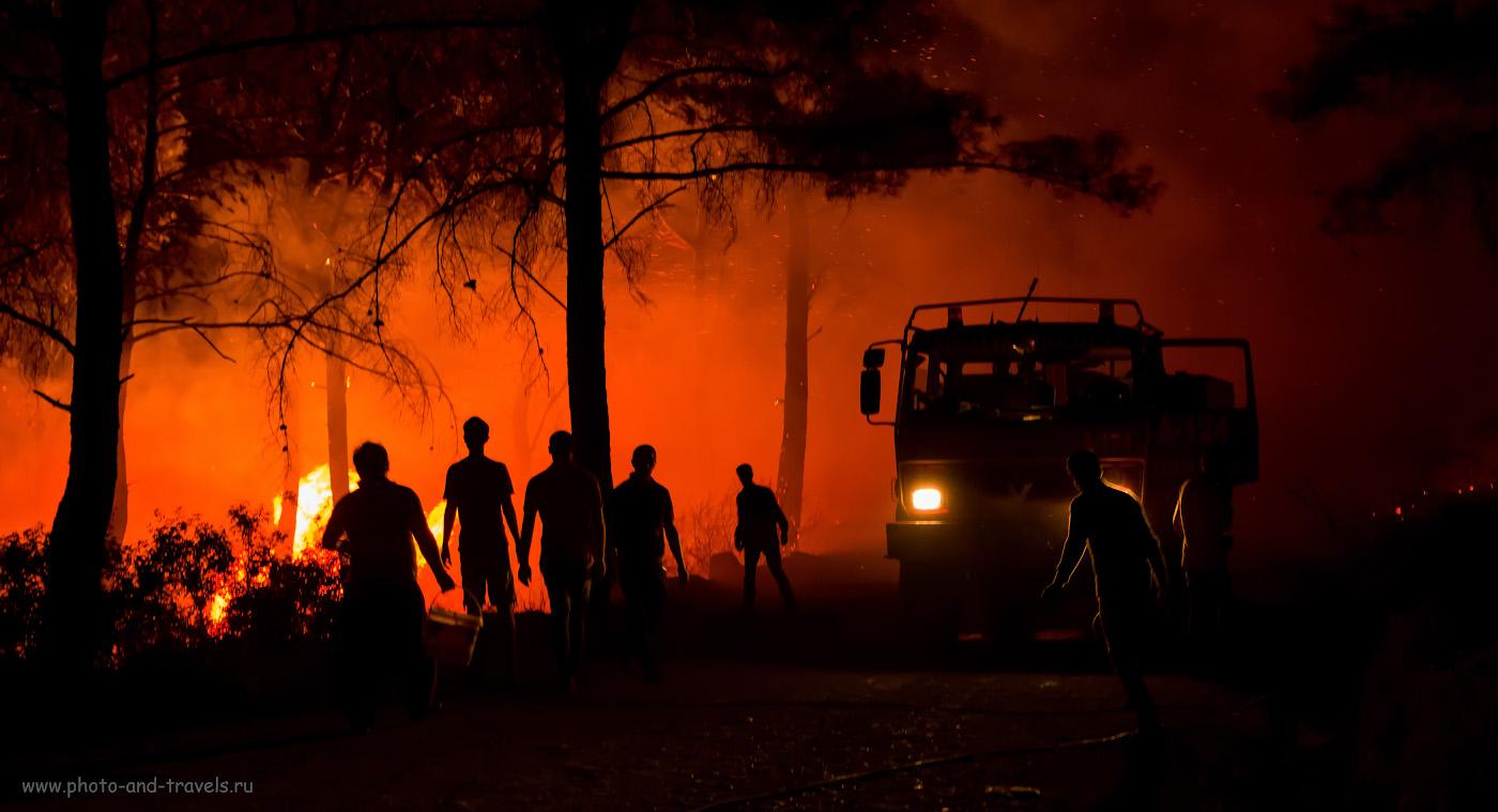 20. Лесные огни на мысе Гелидония. Как я фотографировал пожар. 1/50, 2.8, 3200, -0.67, 38.