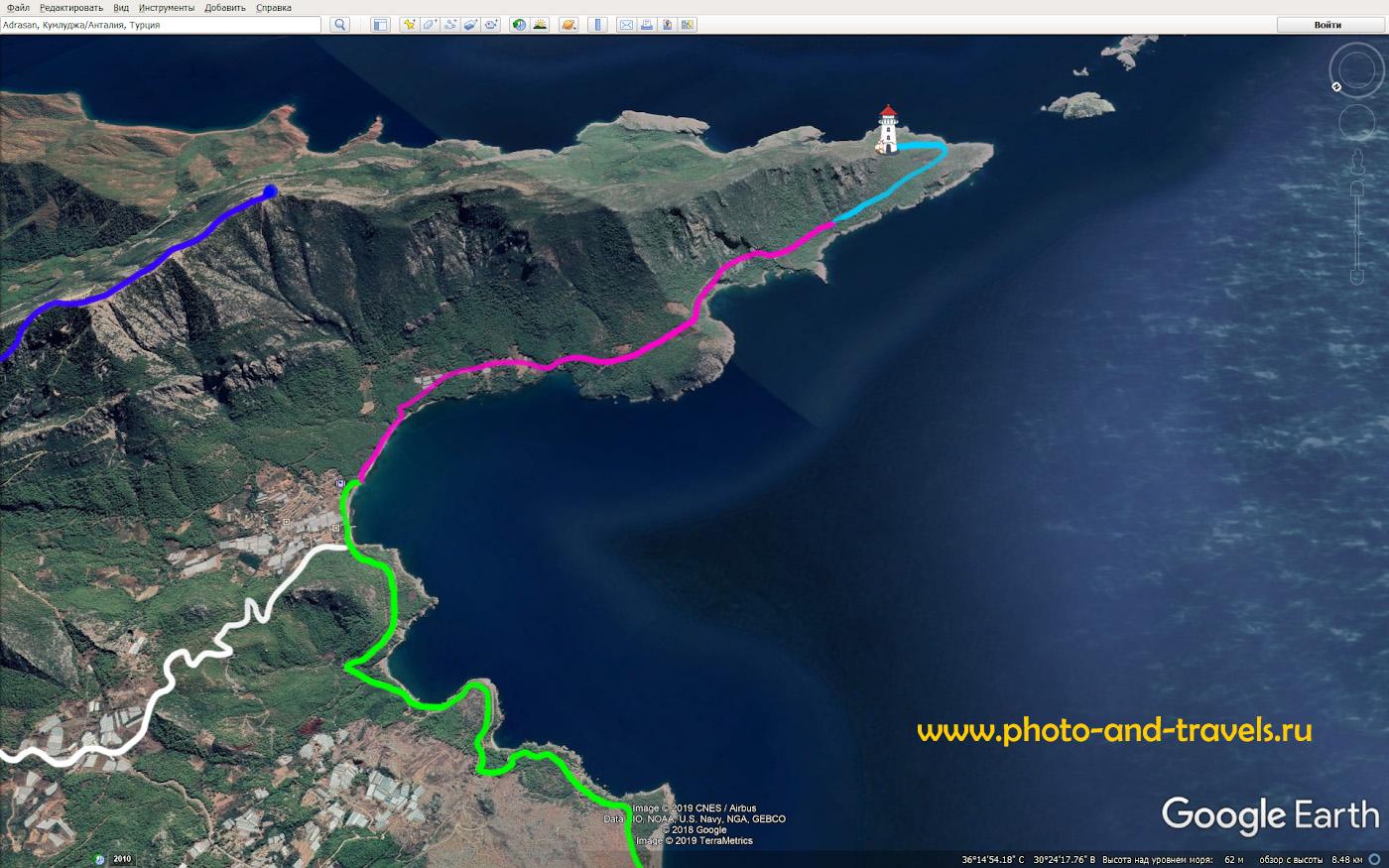 4. Карта со схемой маршрута похода на маяк Гелидония из поселка Караёз на Восточной Ликийской тропе.