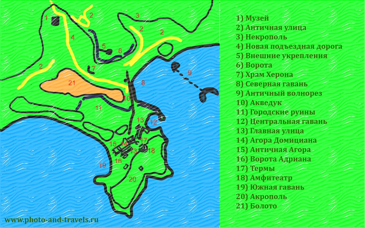 24. Схема расположения объектов на территории археологического комплекса Фазелис.