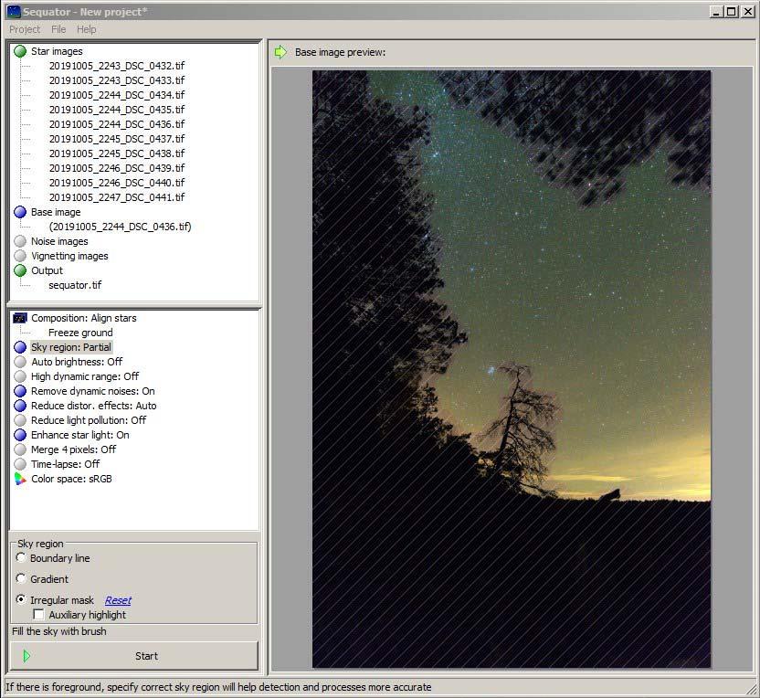 Фотография 22. Обработка кадров со звёздами в «Sequator».