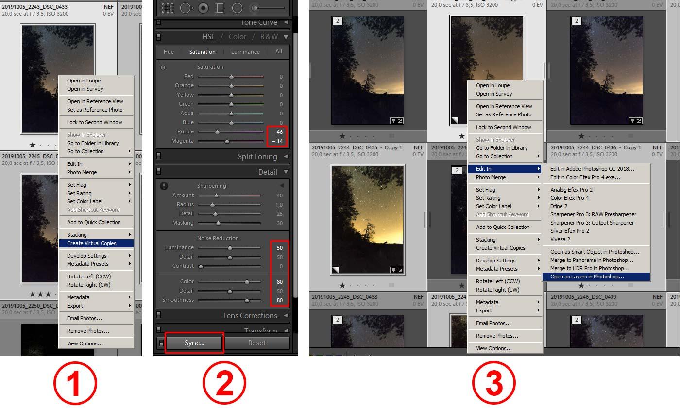 Фото 27. Обработка ночных кадров в «Adobe Lightroom».