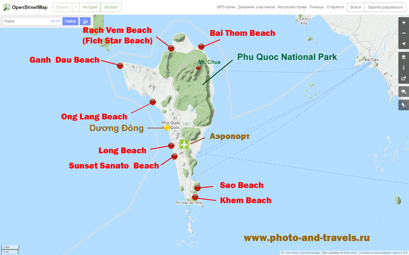 5. Карта расположения пляжей и достопримечательностей на острове Фукуок.