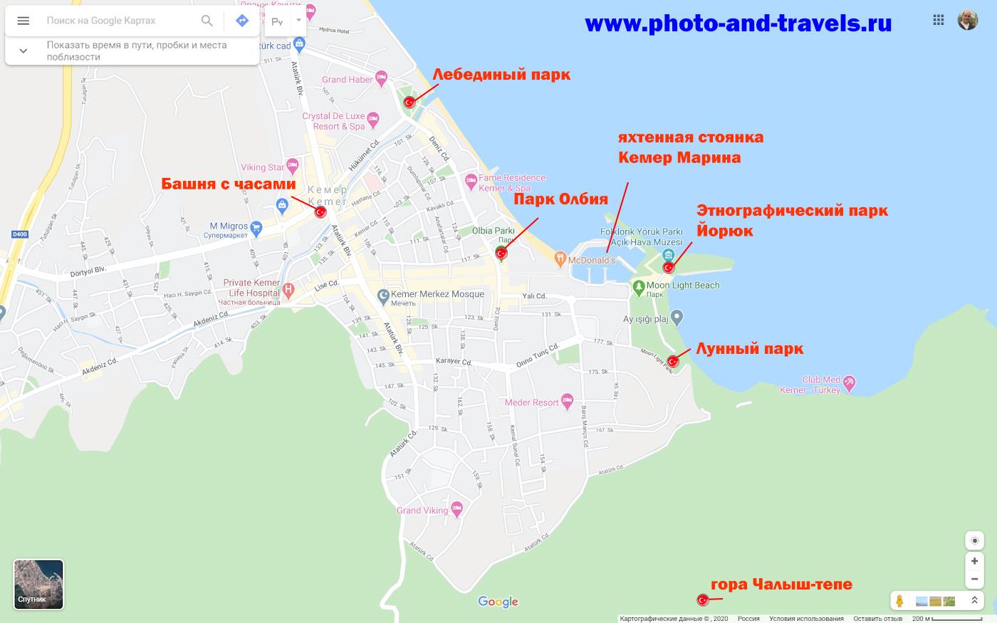 26. Карта достопримечательностей в самом Кемере.