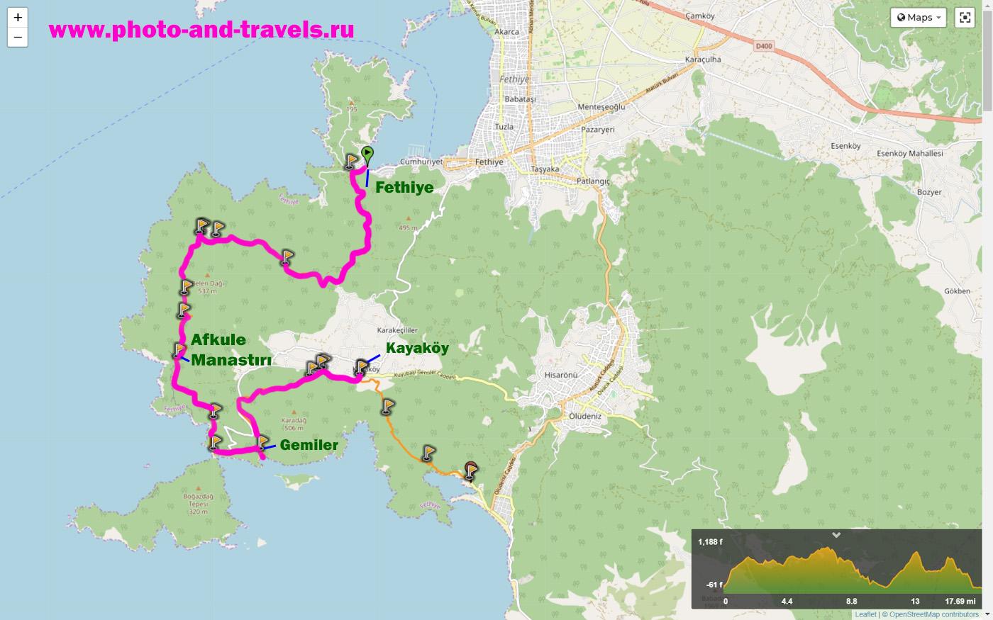 22. Карта со схемой маршрута Фетхие – Афкуле – Гемилер – Каякёй (Fethiye – Afkule – Gemiler - Kayaköy) на Западной Ликийской тропе (Western Lycian trail).