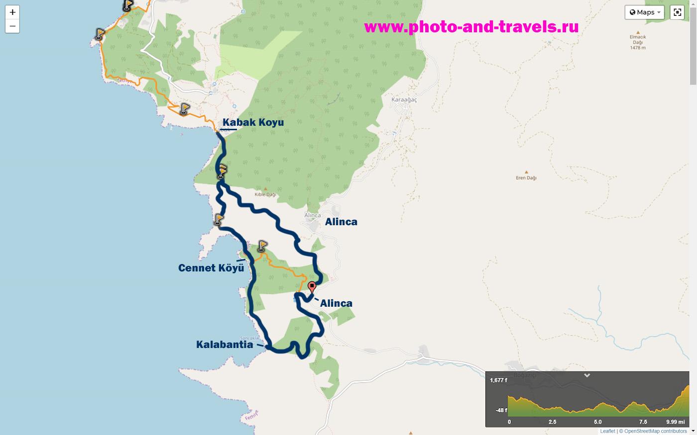 23. Карта со схемой маршрута на участке Западной Ликийской тропы: Кабак - Дженнет – Калабантия – Алынджа – Кабак.