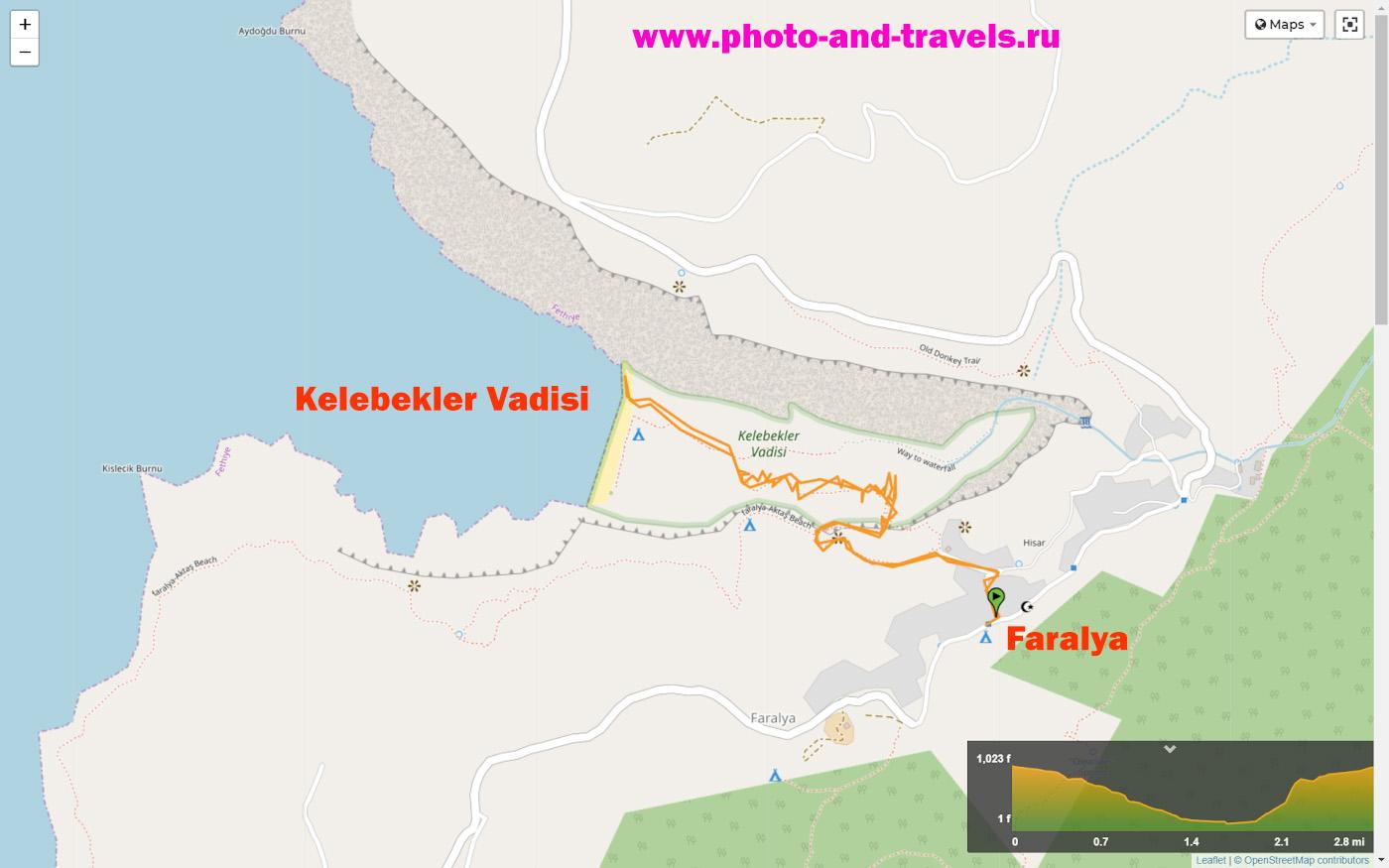 24. Карта короткого маршрута на Западной Ликийской тропе: как спуститься из поселка Фаралья в Долину бабочек (Kelebekler Vadisi).