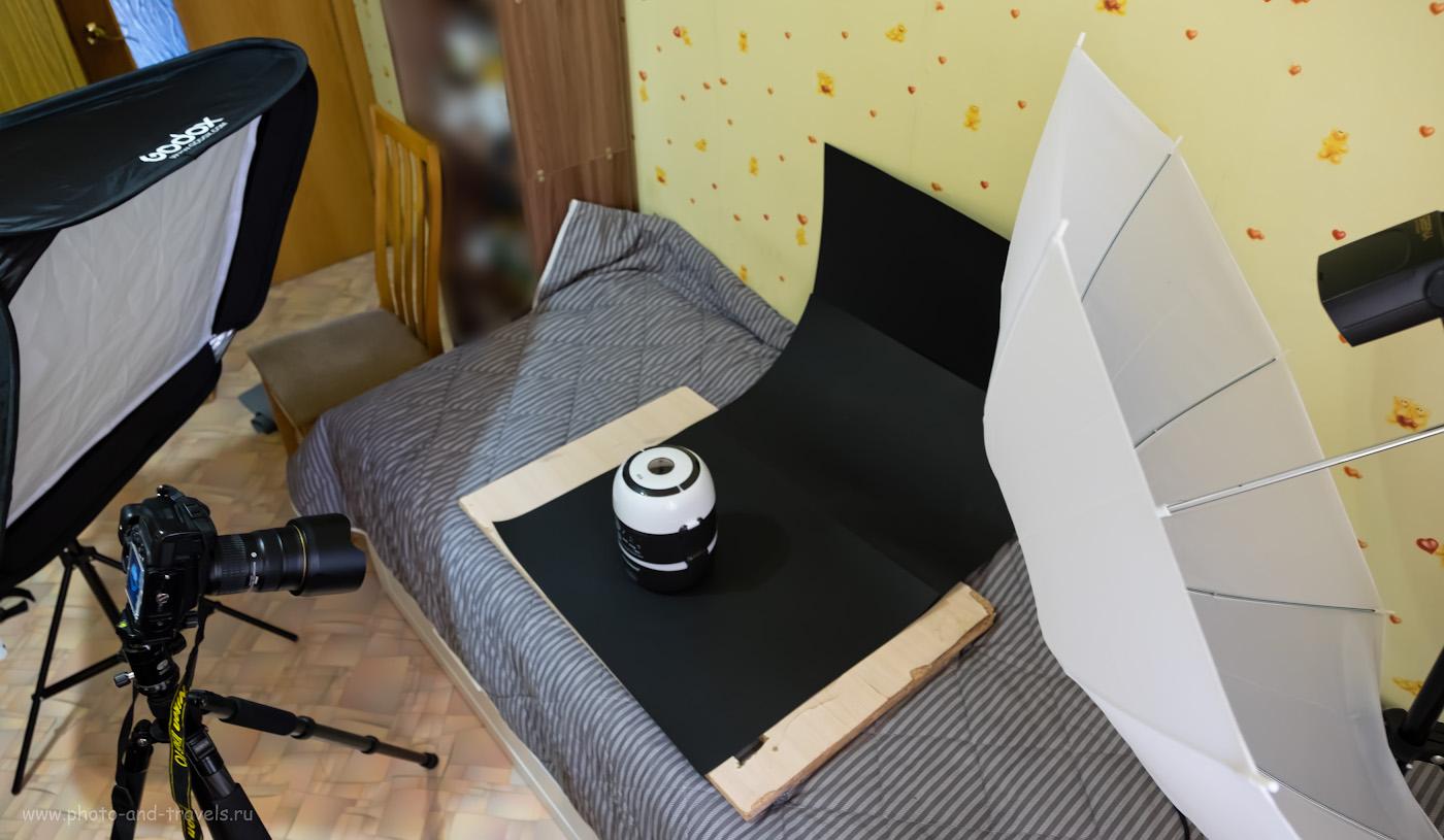 Как я снимал иллюстрации для обзора моей мультиварки на полнокадровую камеру Nikon D610. Слева - софтбокс Godox 80*80, справа - белый зонт на просвет. Само фото снято на Fuji X-T10 + Fujinon 16-55mm f/2.8.