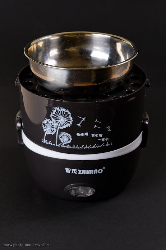 17. Тест мультиварки для путешествия «DMWD rice cooker». Кастрюля среднего размера установлена на секции для яиц. 1/200, 8.0, 100, 48.