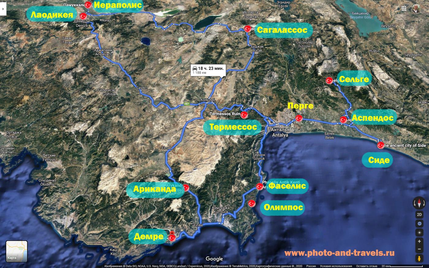 19. Карта расположения античных городов, куда можно съездить из Анталии на машине на экскурсию.
