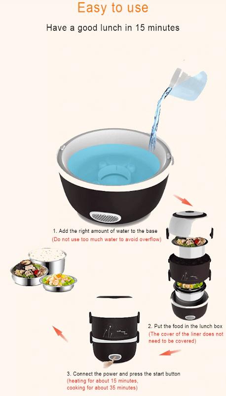 20. Фото со схемой, поясняющей, как пользоваться мини-рисоваркой.