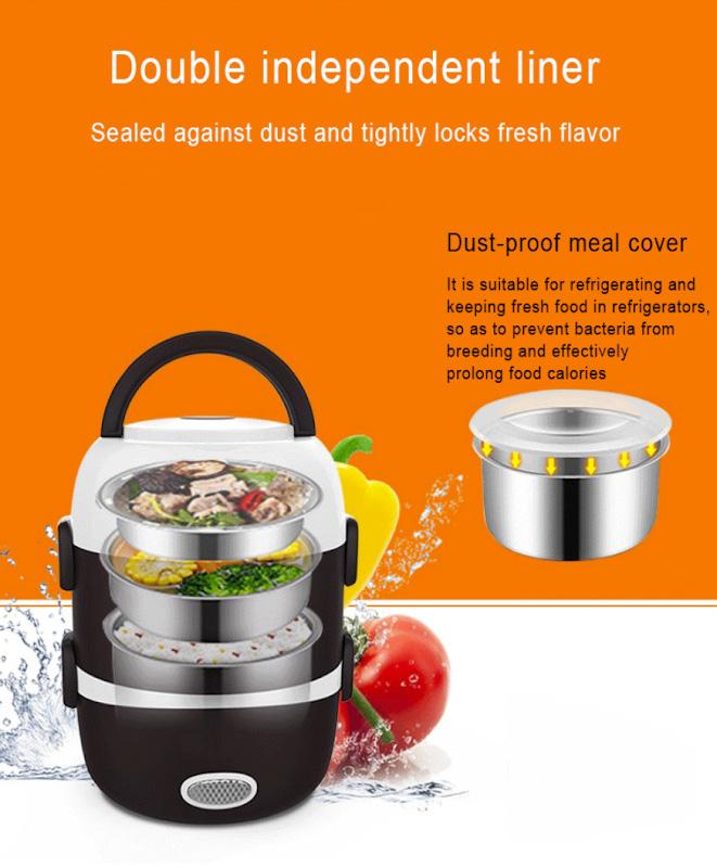 6. В мини-рисоварке «DMWDMiniRice Cooker» можно готовить сразу 3 блюда. В комплекте идут 3 кастрюли из нержавеющей стали и две пластиковые крышки.