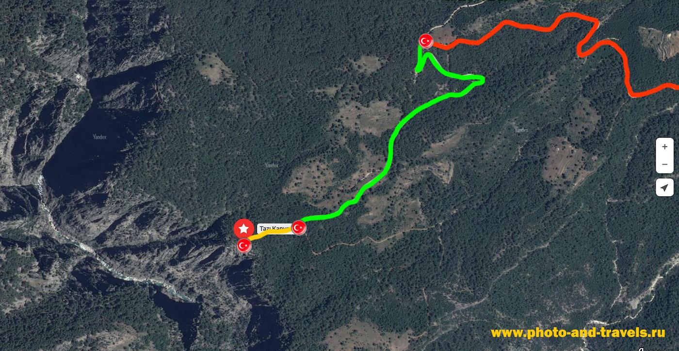 26. Карта, показывающая пеший участок маршрута к смотровой площадке каньона Тазы (Tazi Kanyonu).