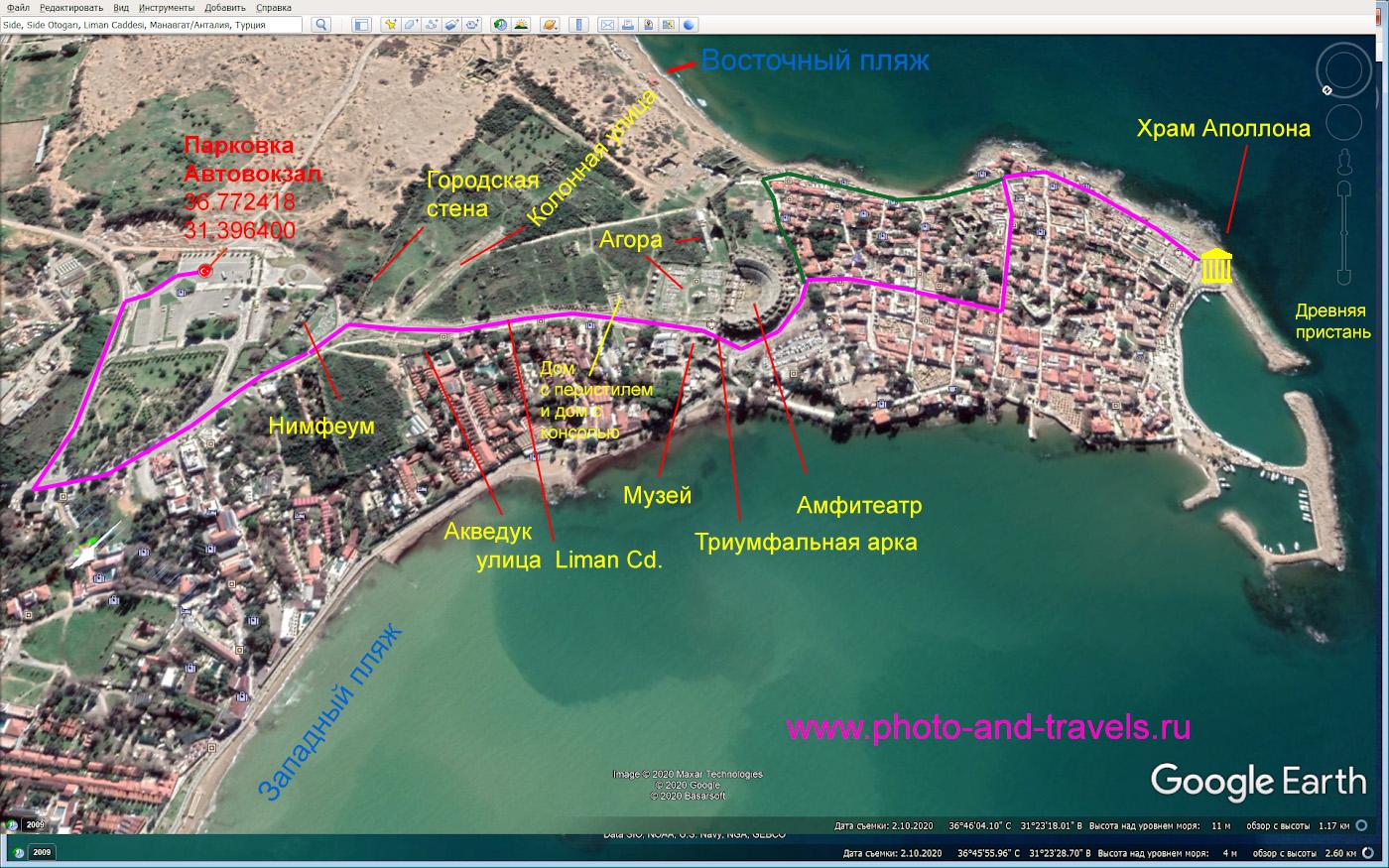4. Карта со схемой маршрута экскурсии по развалинам древнего города Сиде в Турции. Отзывы о самостоятельной поездке.