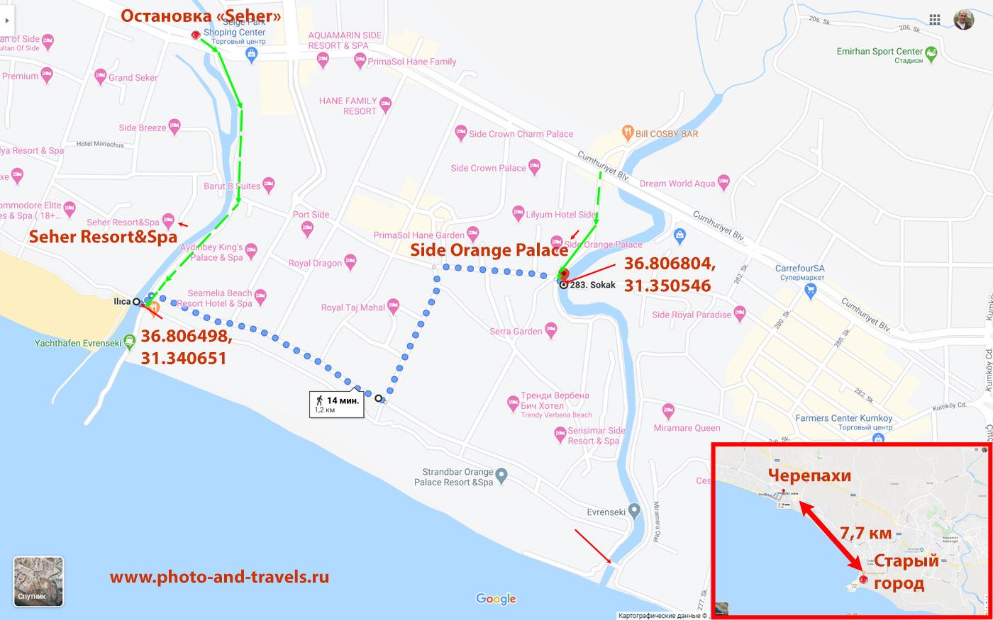 23. Карта расположения моста с водными черепахами в Сиде.