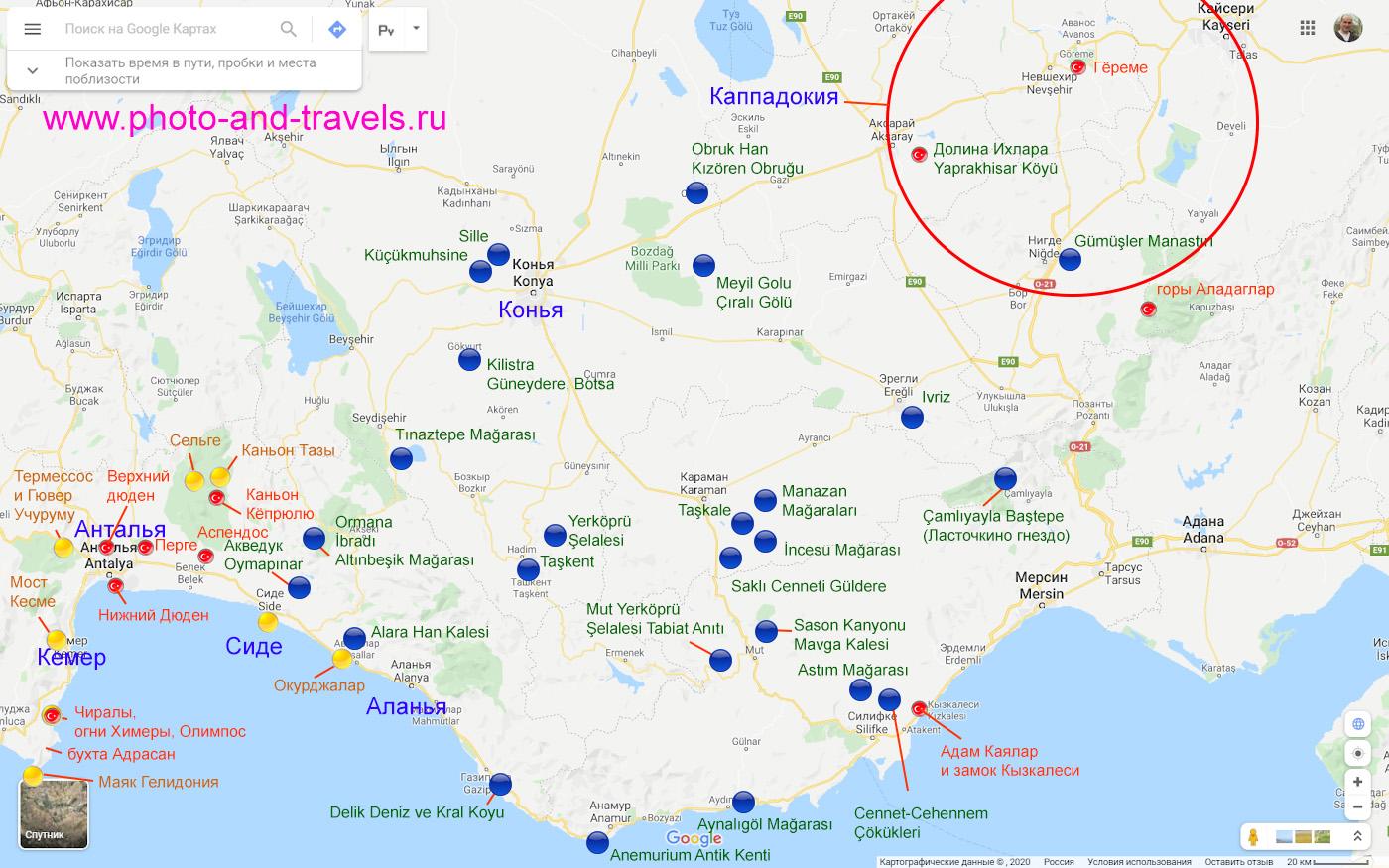 27. Карта со схемой расположения достопримечательностей, к которым можно съездить из Сиде, если взять на прокат машину.