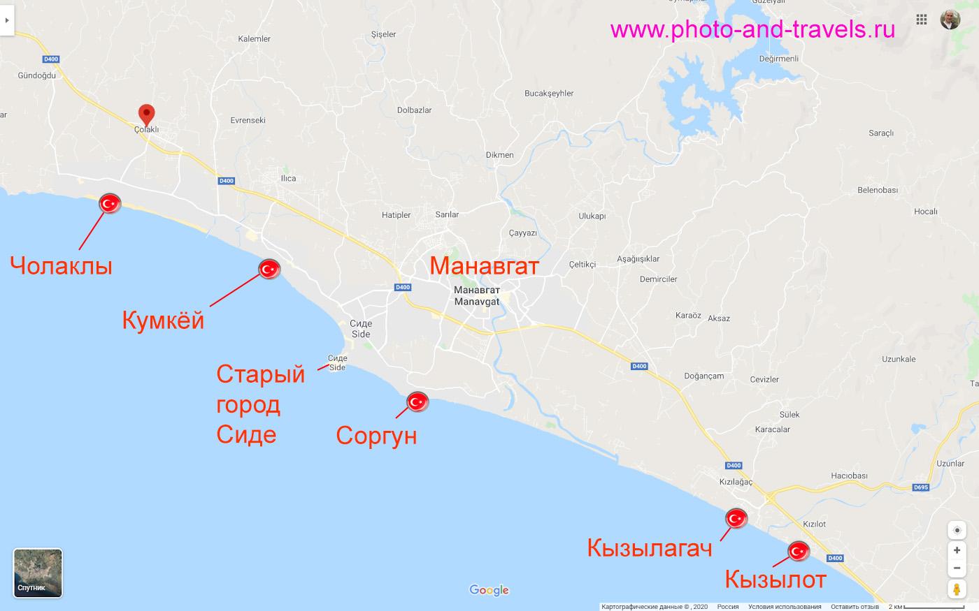 20. Карта расположения курортных поселков Чолаклы, Кумкёй, Соргун, Кызылагач и Кызылот в регионе Сиде.