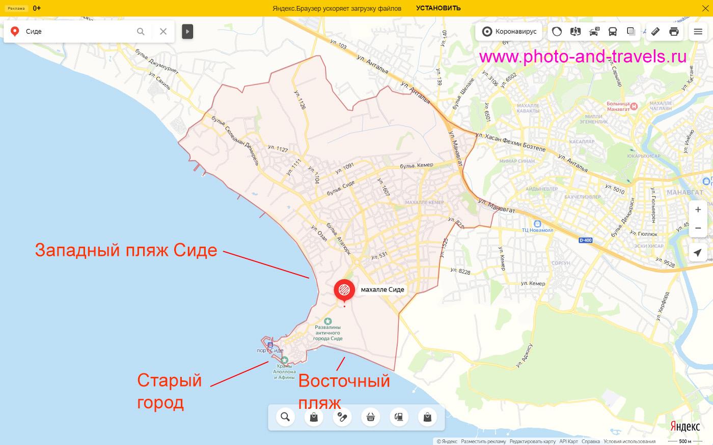 22. Карта со схемой расположения Западного и Восточного пляжей в Сиде.