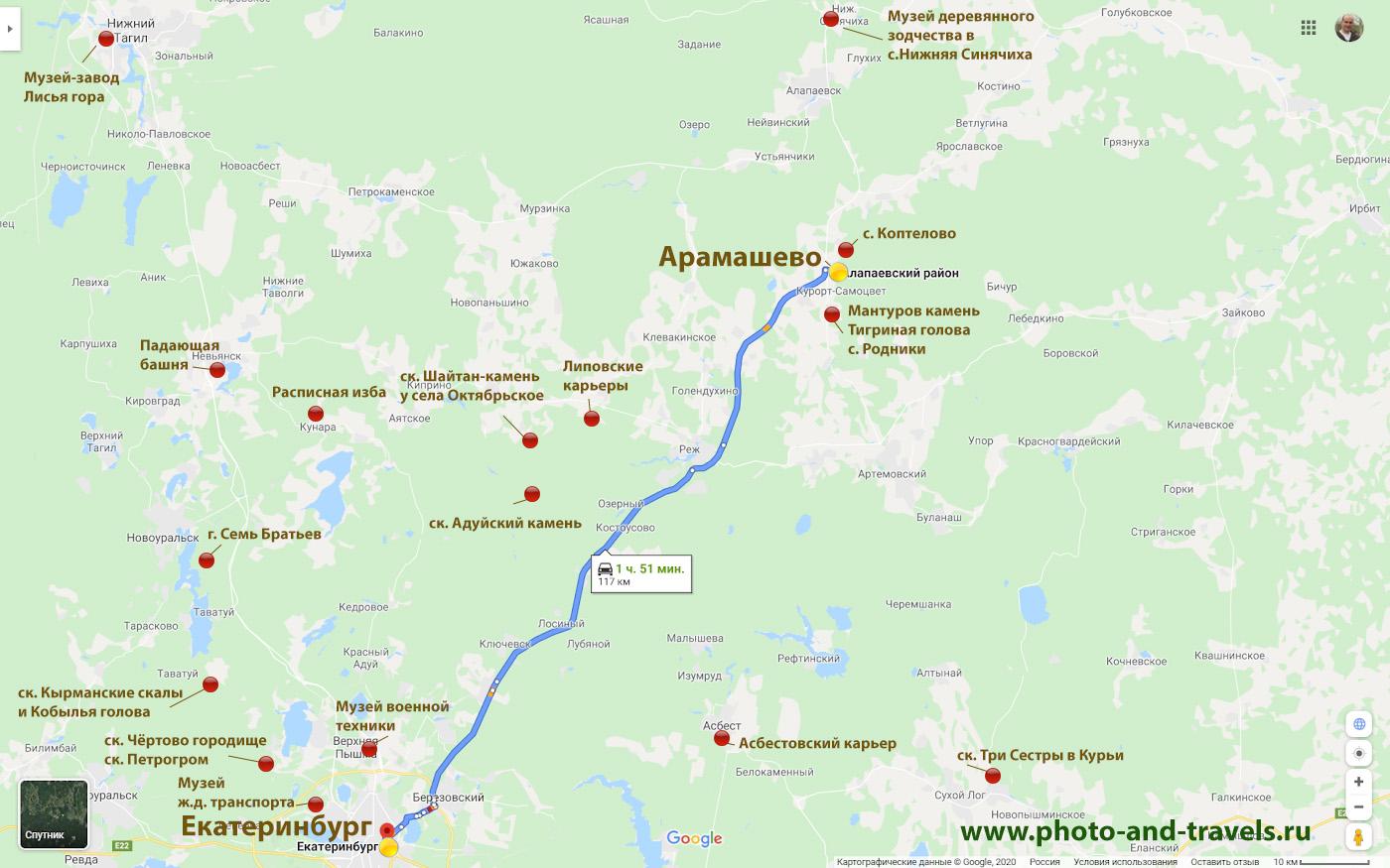 20. Карта расположения интересных достопримечательностей, которые можно посмотреть недалеко от Мироново.