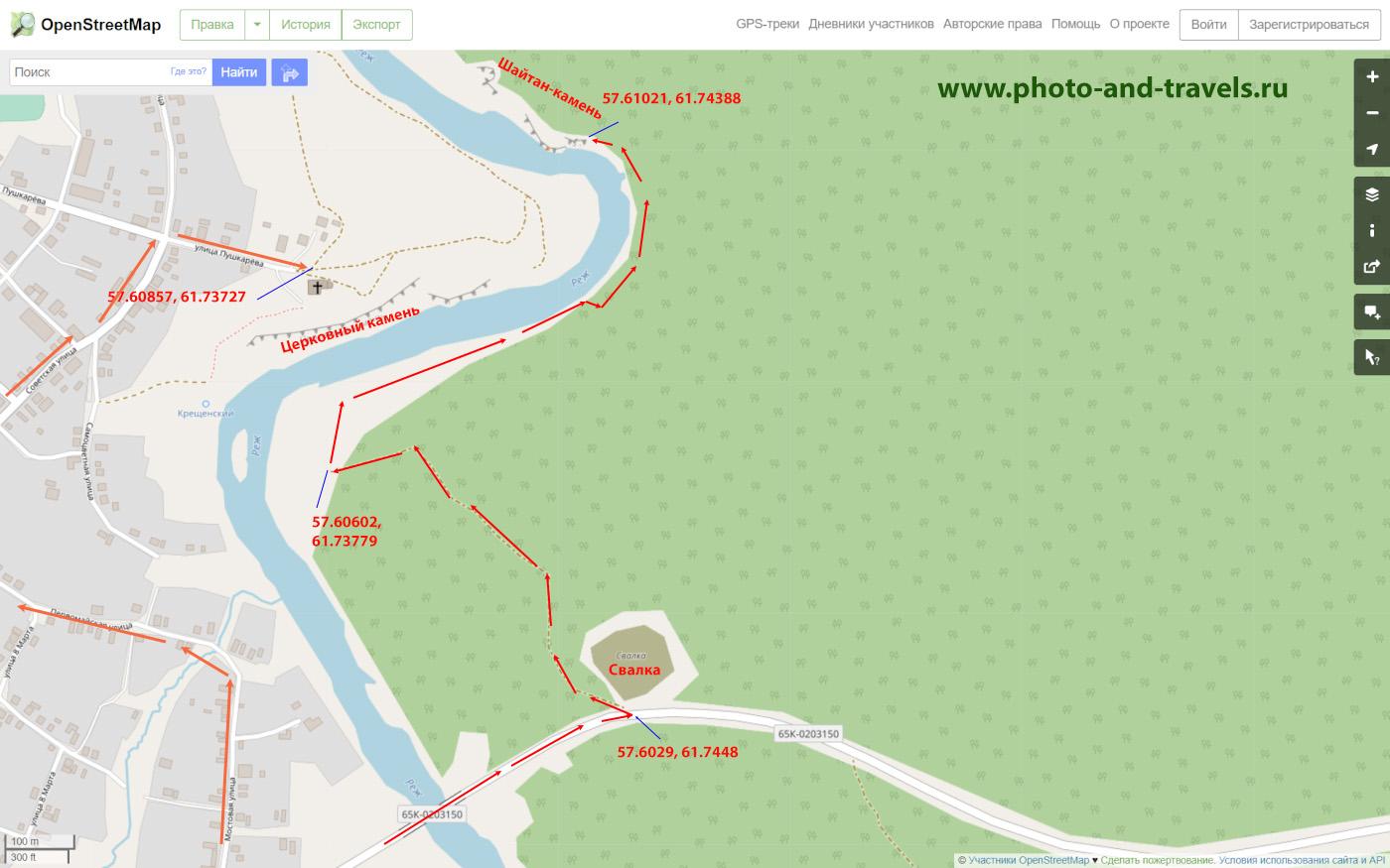 19. Карта маршрута тропы. Как добраться на скалу Шайтан-камень в Арамашево.