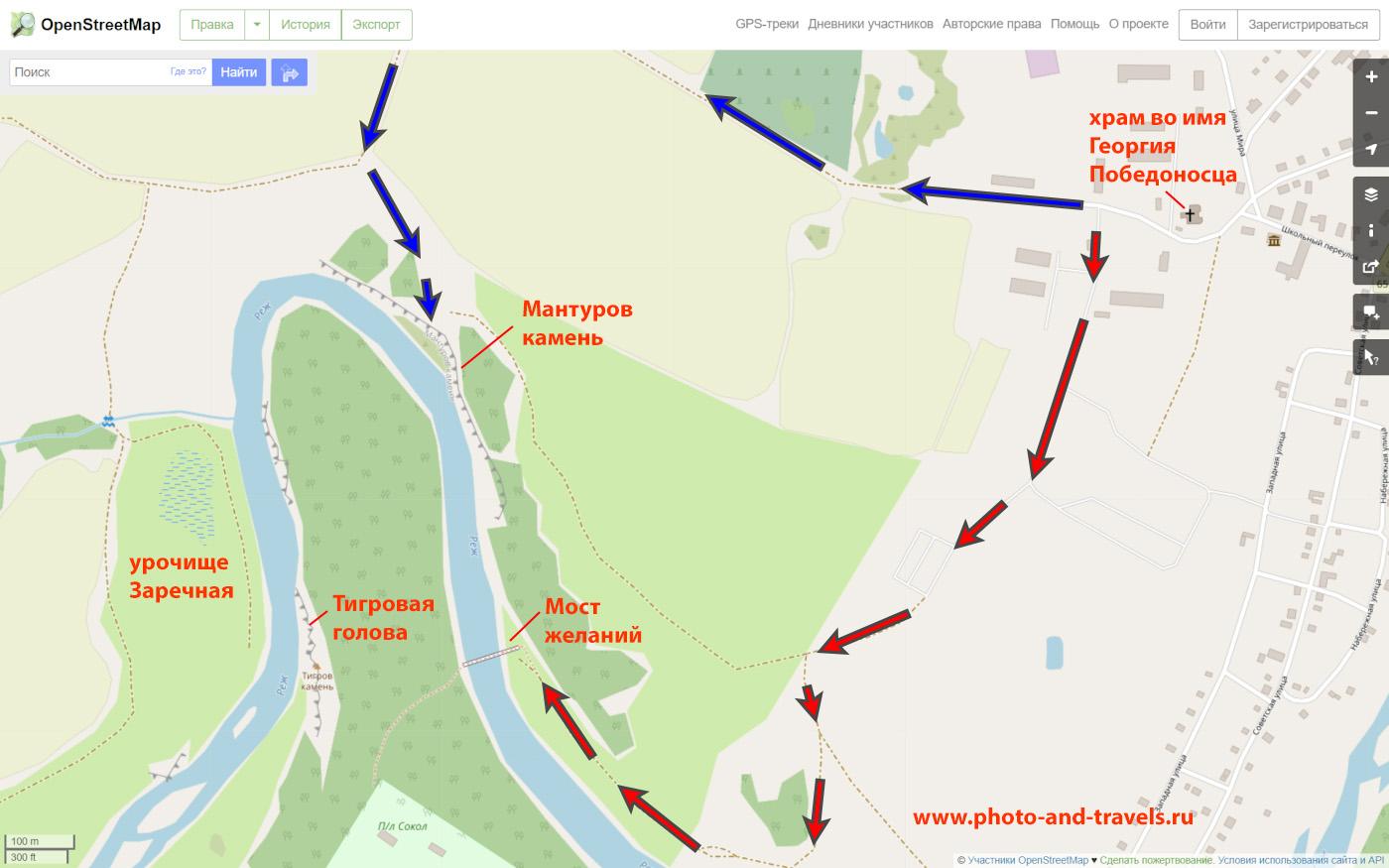 3. Карта со схемой маршрута экскурсии по скалам Мантуров камень и Тигровый камень (Тигриная голова) близ села Мироново. Синие стрелки - к смотровым площадкам наверху, красные - к подножью, к Мосту желаний.