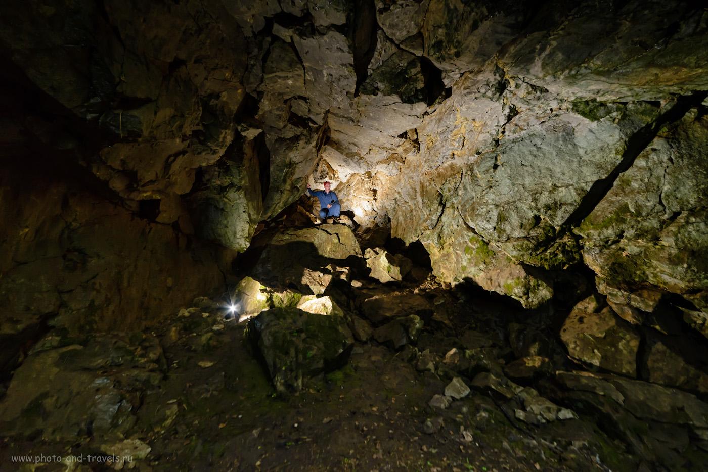 1. Фотосессия пещере Мшистая в южной части парка «Оленьи ручьи». Снято на Nikon D610 с шириком Samyang 14mm f/2.8. Настройки: В=1/30 сек., f/5.6, ISO 2000, поправка экспозиции -0.67 EV, ФР=14 мм.