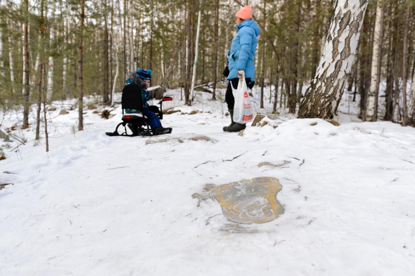 Фотография 9. След снежного человека на тропе ко входу в штольню слюдорудника. Как найти достопримечательность самостоятельно. 1/50, 3.5, 350, +1.0, 24.