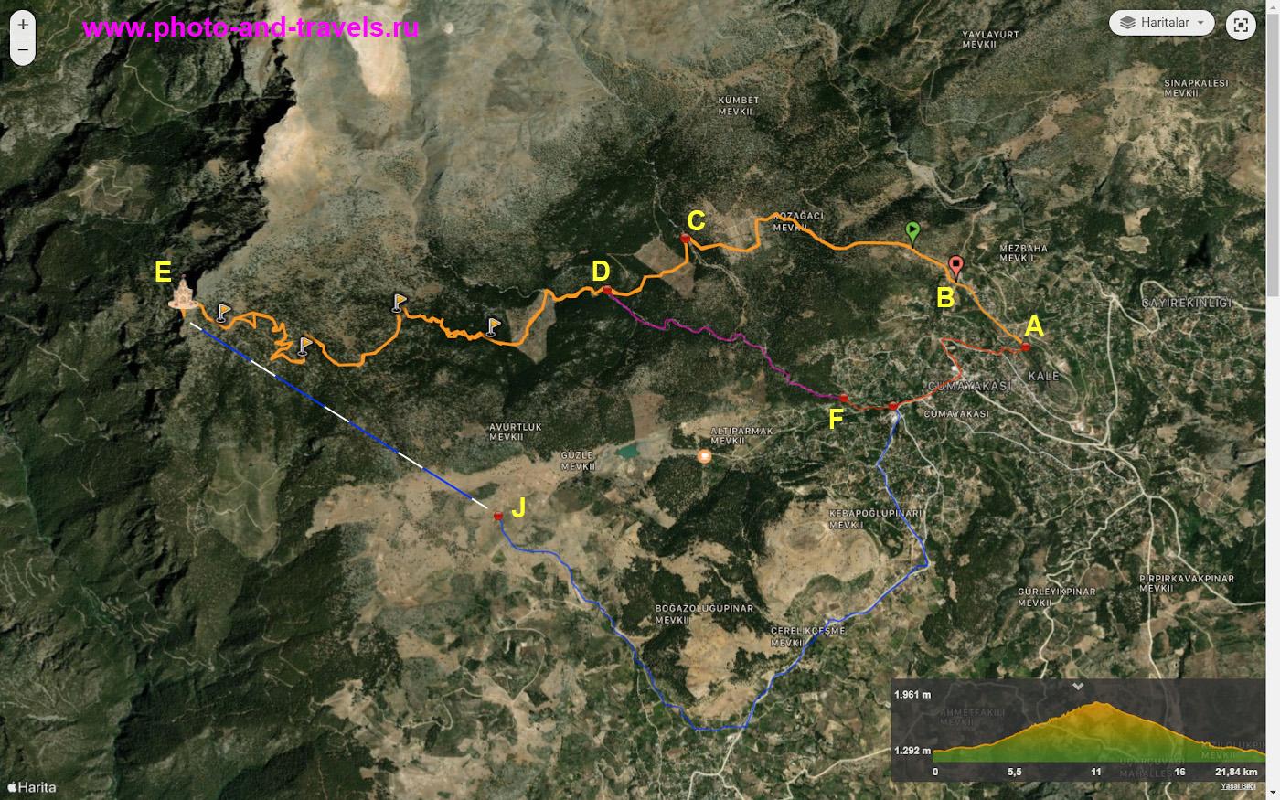 30. Карта, поясняющая, где находится дорога на вершину Баштепе к башне Янгын Гёзетлеме в Чамлыяйла.