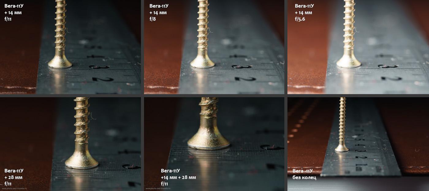 14. Исследуем, какая ГРИП получается при съемке объективом Вега-11У в комплекте с удлинительными кольцами. Камера Sony A6000 с APS-C матрицей.