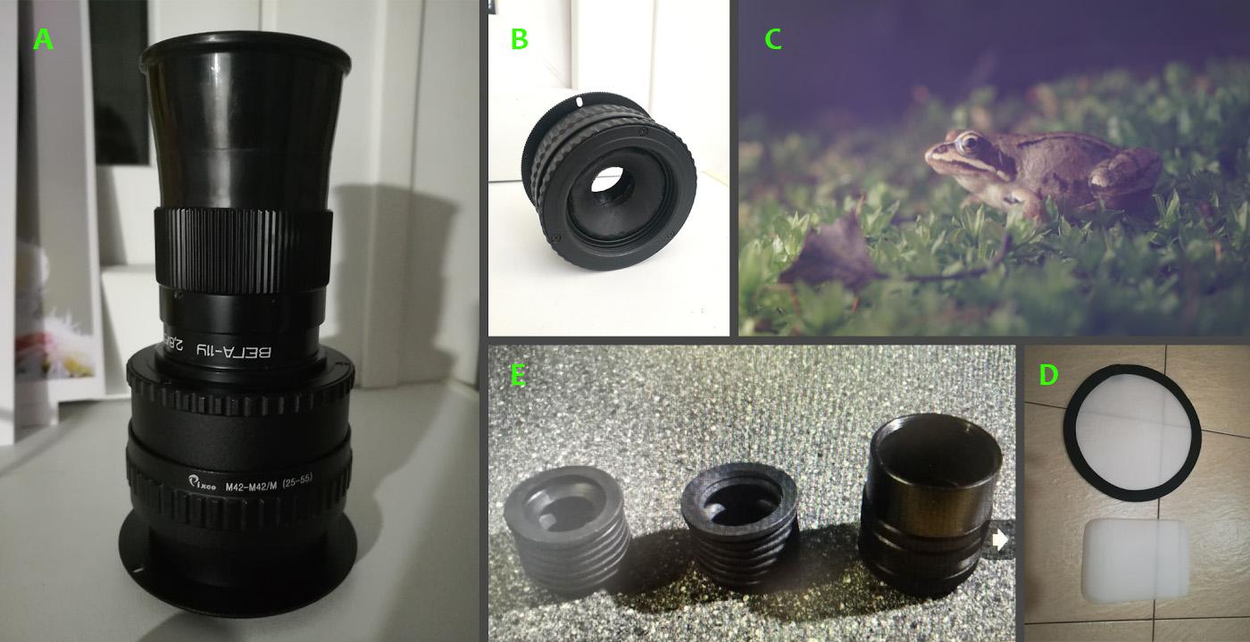 Фото 42. Как выглядит «фокусировочный геликоид» Pixco M42/M42 25-55mm (M42toM42Mount Lens Adjustable Focusing Helicoid25-55mm) с объективом Вега-11У.